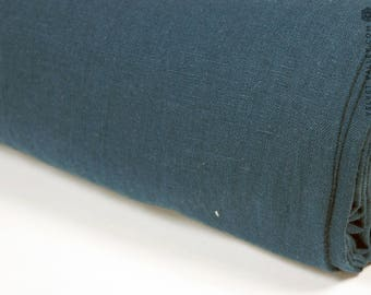 Softened teal blue linen fabric -Dark turquoise linen- Stonewashed dark teal blue fabric for clothing, bedding