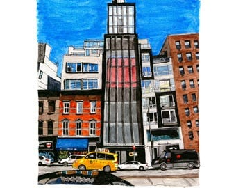 SoHo NYC Ink & Watercolor Print