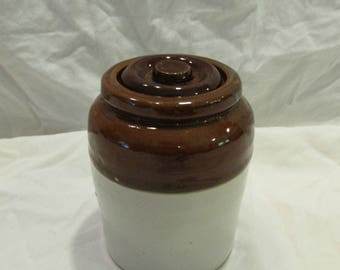 Stoneware Crock/Canister with Lid, Brown and Light Grey, Small, 1960's or 1970's