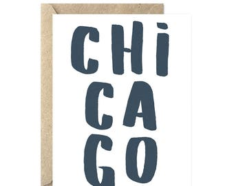 Chicago IL Greeting Card, Hello from the Chicago, Chi-Town, Just Because Card, Saying Hello, Moving Card, - 315C