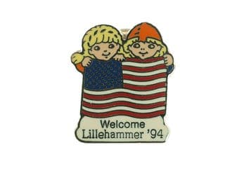 American Flag Lillehammer Olympic Pin