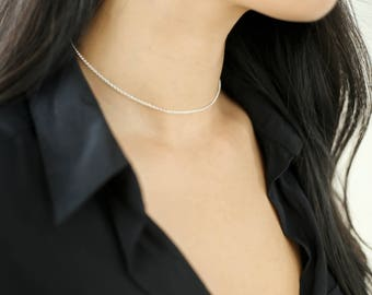 QUINSCO - [ S A D I E ] - Sterling Silver Thin Chain Choker Necklace