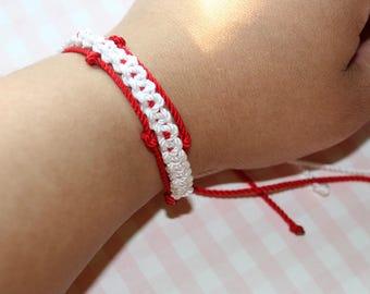 crochet, minimalist jewelry, nylon thread, crochet jewelry, pride bracelet, red, blue, purple, blue bracelet, handmade, bracelets, gifts