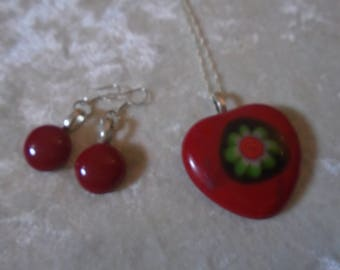 Hand crafted fused glass heart pendant & silver earwired earrings in a box in red