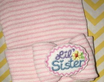 Newborn Hat with Colorful Little Sister Embellishment on Small Bow made of same material as Newborn Hospital Beanie.  Baby Newborn Hats.