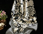 Black & gold satin square scarf, large size light gold retro floral printed woman scarf bandanna, Mother's Day scarf, gift for her under 15