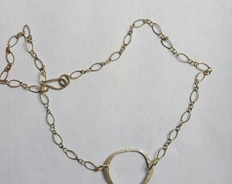 Sterling silver hammered modern open circle 16 inch necklace