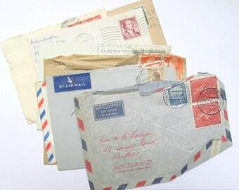 Vintage envelopes: set of 8 1930s to 1950s used envelopes with stamps & postmarks. Paper ephemera for mixed media, scrapbooks, journal OT593
