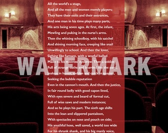 William Shakespeare Poem - All the World's a Stage - Poster Original Art Print Photo