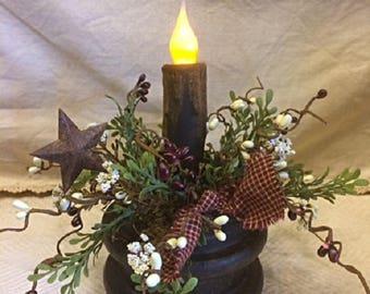 Primitive Antique Wooden Spool Bobbin Timer Candle Home Decor Accent