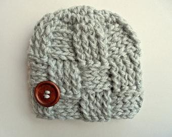Wool baby hat Basket weave hat Baby boy hat Gray baby hat Baby boy beanie Baby boy winter hat Newborn boy outfit Crochet baby hat
