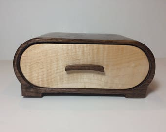 Handmade Walnut and Curly Maple Wood Bandsaw Jewelry Keepsake Box
