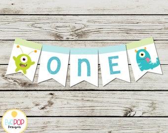 LITTLE MONSTER BIRTHDAY, Highchair Banner, High Chair Banner, White, Chalkboard, Birthday Party Decorations, Digital Printable