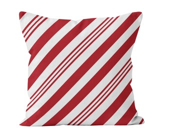 Candy Cane Pillow Cover, Candy Cane Decor, Red Christmas Pillow Cover, Red Diagonal Stripes Throw Cushion Cover, Modern Holiday Decor