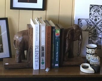 Hand carved wooden elephant bookends vintage