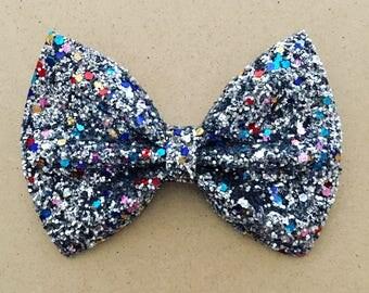 Premium Silver Confetti Glitter Bow Tie Bow, Silver Glitter Bow Tie Bow, Silver Glitter Hair Bow