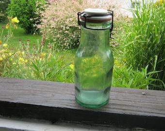 Glass Preserving Jar, French L'Ideal Glass Jar, Green Glass and Porcelain Bottle