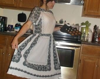 Vintage black and white lace pattern dress