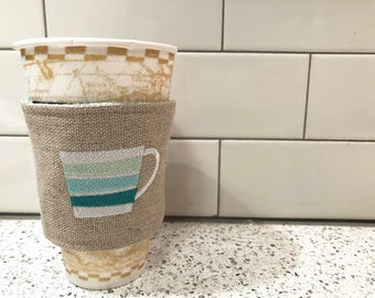 Teal Coffee Cup Insulated Coffee or Tea Sleeve
