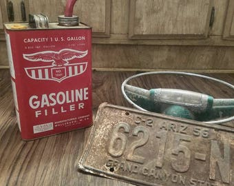 Vintage Red Gas Can, Eagle Manufacturing Gas Can, Gas Canister, Gas Station, Man Cave, Garage Decor, Vintage Advertising