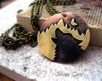 Handmade Copper and Brass Wolf Pendant Mountains Pendant  Wolf in Mountains Necklace