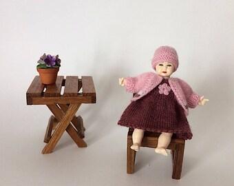 Heidi Ott doll clothes set, miniature knitting suit for 2.7 inch (6.5cm) girl doll, 1:12 dollhouse doll clothes, mini toys clothing
