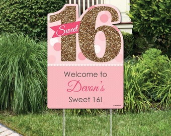 Sweet 16 - Party Decoration - Birthday Party Personalized Welcome Yard Sign - 16th Birthday Party Lawn Decoration Sign - Pink and Gold Party