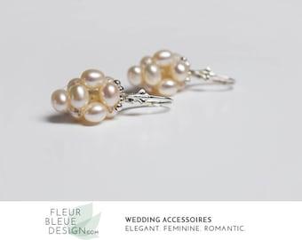 wedding earrings | bridal dangle earrings | bridal pearl earrings | silver earrings | earrings vintage style | handmade earrings