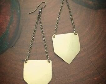 Brass shield earrings