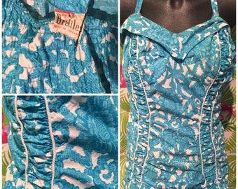 Vintage plus size 1950's turquoise swimsuit