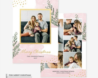 Christmas Card Template for photographers PSD Flat card - Christmas Card - Photoshop Template - CD058