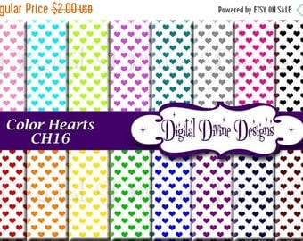 BTS Sweet Color Hearts on White Digital Scrapbooking  Paper Set - Instant Download