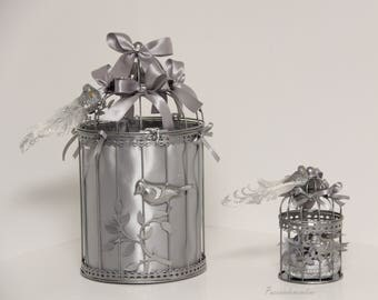 Bird cage wedding urn and cage ring silver rhinestones and glitter wedding decoration