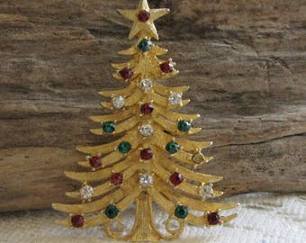 Vintage MyLu Christmas Tree Brooch Gold Toned with Red, Green and Clear Rhinestones