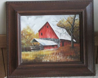 Red Barn Painting Acrylic and Framed Rustic Farmhouse and Home Decor Local Artist