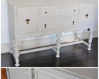 SALE FREE SHIP - Art Deco Buffet / Sideboard / Credenza - Light Gray Grey - Solid Wood Wooden Cottage Style - 1920s / 1930s