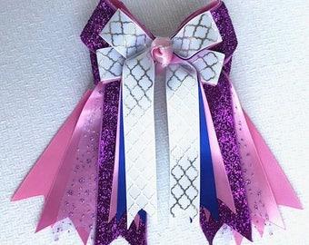 Equestrian Horse Show Hair Bows/Purple Pink Sparkle