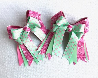 SHORTY Horse Show Hair Bow - Pink Green shorty bow