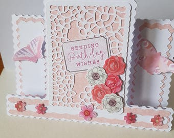 Handmade Decorative Edged Centre Stepper Butterflies Flowers Mum Sister Daughter Nan Wife etc Birthday Card