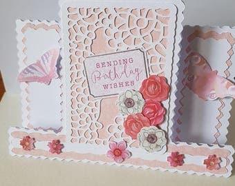 Handmade Decorative Edged Centre Stepper Butterflies Flowers Mum Sister Daughter Nan Wife etc Birthday Card