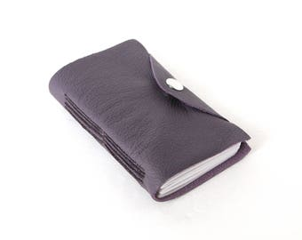 Little Leather Travel Journal - Purple Pocket Longstitch Notebook with Snap Closure, Unlined Travel Journal, Autograph Book, Tiny Sketchbook