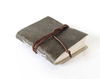 Little Leather Travel Journal - Brown with Foldout Pages and Cord Wrap Closure Garden Log, Unlined Notebook, OOAK Sketchbook, Pocket Journal