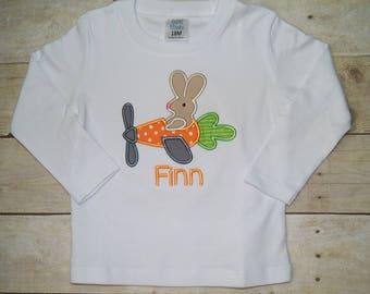 Easter Bunny Plane Baby Bodysuit Toddler Shirt, Easter Shirt, Easter Egg Shirt