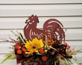 Kitchen floral arrangements, rooster arrangements,Tuscan arrangements,rustic arrangements,home decor,rustic decor,rooster,