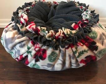 Fleece pet bed, kitten bed, dog bed, plush fleece tie bed, Woodland