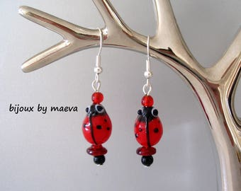 Red and black earrings Ladybirds