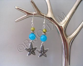 Earrings turquoise and lime green 'Starfish'