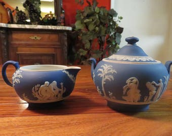 Beautiful Vintage Wedgewood England Blue And White Jasperware Creamer and Lidded Sugar Bowl