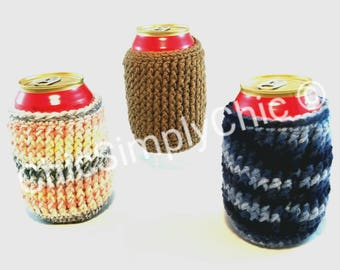 3 Crochet Soda Can Cozies, Christmas Cozies, Party Cozies, Beverage Cozies, Drink Cozies, Christmas Party Favors, Can Cozies, Glass Cozies