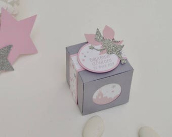 """10 boxes sweets themed pink """"fairy"""" Almon and grey with stars and Castle"""